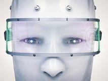 靠机械装置维持生命的人面孔或机器人面孔 向量例证