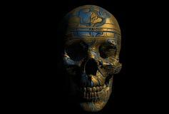 靠机械装置维持生命的人头骨 库存照片