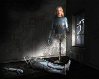 靠机械装置维持生命的人Anroid机器人机器妇女 免版税库存照片