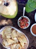 靠海滨的膳食在墨西哥:玉米片,辣调味汁,椰子,绿色汁液 免版税库存照片