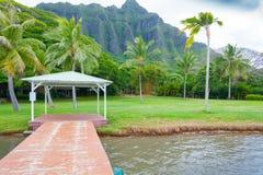 靠码头在与棕榈树和pali山奥阿胡岛夏威夷的海滩 库存图片
