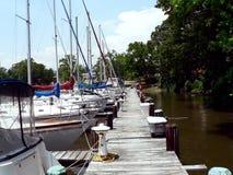 靠码头的风船 图库摄影
