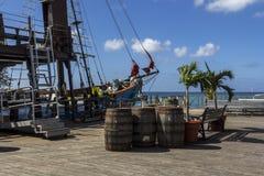 靠码头的葡萄酒船 免版税图库摄影