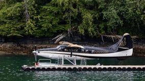靠码头的水上飞机 库存照片