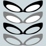 黑面具和其他颜色或女性玻璃 免版税库存照片