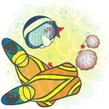 面具和鸭脚板在海底 免版税库存照片
