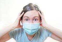 面具的患者在危机状况。 免版税库存照片