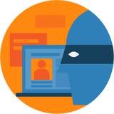 面具的黑客与注册屏幕 库存照片