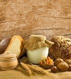 面包、坚果和酸奶的图象breakfastst的 库存图片
