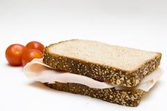 面包三明治植入蕃茄 库存图片