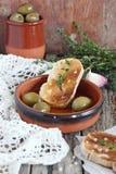 面包和橄榄 库存照片