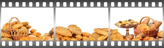 面包和酥皮点心在影片框架  库存照片
