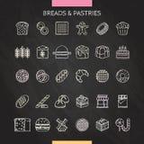 面包和酥皮点心白垩 库存例证