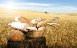面包和麦子谷物庄稼 免版税库存照片