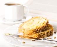 面包咖啡片式 免版税库存照片
