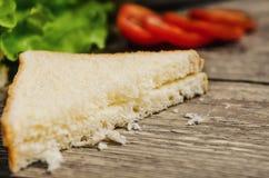 面包在桌上的沙拉蕃茄 免版税库存图片