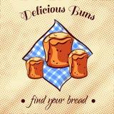 添面包在餐巾16 库存图片