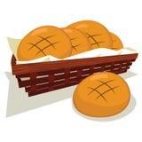 面包小圆面包篮子 库存例证