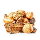 面包小圆面包篮子  免版税库存照片