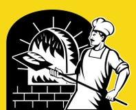 面包师烘烤火藏品烤箱平底锅 免版税库存照片