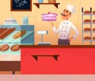 面包师男性的背景例证在工作 向量例证