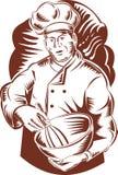 面包师碗主厨厨师 图库摄影