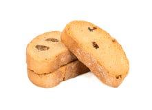 面包干用葡萄干 免版税库存图片