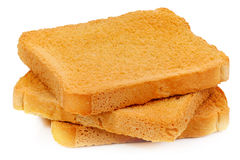面包干白色背景 库存图片