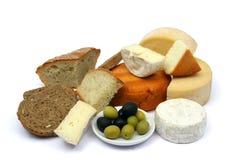 面包干酪橄榄 免版税库存照片