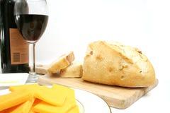面包干酪酒 免版税图库摄影