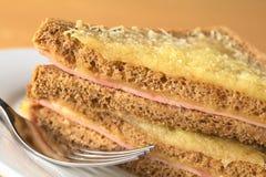 面包干酪croque被盘问的火腿先生 库存照片