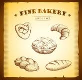 面包店。大面包,长方形宝石,烘烤了物品,新月形面包,古芝 免版税库存图片