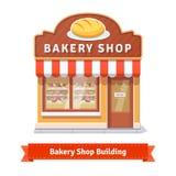 面包店与牌的工厂建筑物门面 免版税库存图片