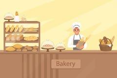 面包店与面包师字符的商店例证在一间陈列室旁边用酥皮点心 站立在柜台后的年轻人 向量例证