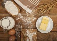 面包店产品的准备的成份 库存照片