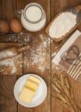 面包店产品的准备的成份 免版税库存照片