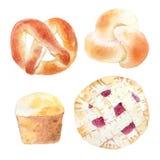 面包店产品的水彩例证面包店或咖啡馆的, 免版税库存照片