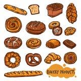 面包店产品面包彩色组 免版税库存照片