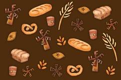 面包店产品,烘烤的印刷品 酥皮点心无缝的样式 逗人喜爱的厨房背景 向量例证