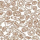 面包店剪影无缝的样式 库存图片