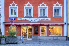 面包店和咖啡店在Vilshofen,德国 库存图片