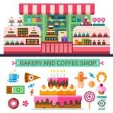 面包店和咖啡店 向量例证