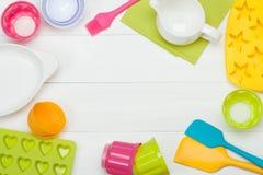 面包店和烹调工具 硅树脂模子,杯形蛋糕盒 Measur 免版税库存照片