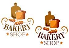 面包店商店标志或标签 免版税库存照片