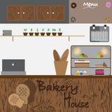 面包店房子设计传染媒介 免版税库存图片