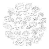 面包店新鲜面包汇集乱画样式传染媒介例证 免版税库存照片