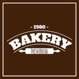 面包店新鲜面包1980年布朗背景传染媒介 免版税库存图片