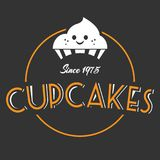 面包店杯形蛋糕从1975黑暗背景传染媒介 库存图片