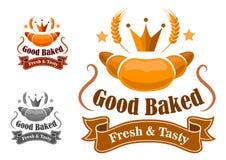 面包店标签withfresh和鲜美新月形面包 免版税库存图片