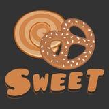 面包店甜曲奇饼黑暗的背景传染媒介 免版税图库摄影